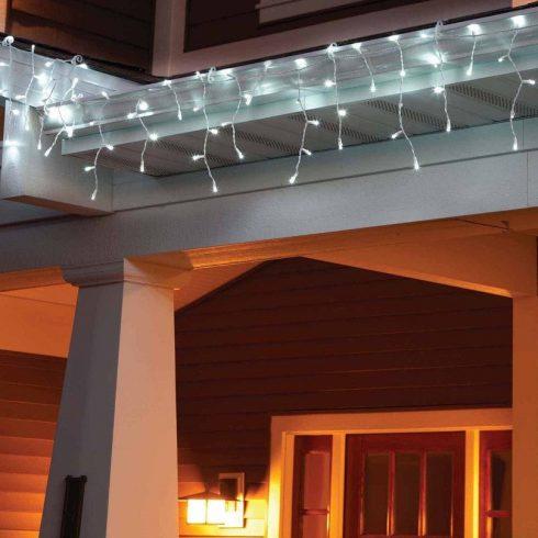 185 LED-es / 8 méteres jégcsap fényfüzér (hideg fehér színben)