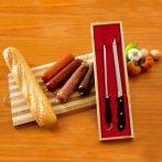 Sonkaszelő kés és élező (Fa dobozban)