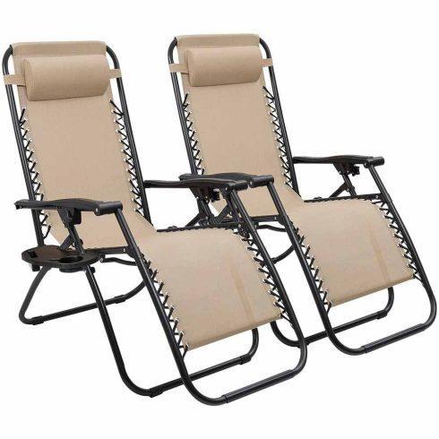2 db-os Zéró gravitáció kerti szék, bézs színben, ajándék pohártartóval
