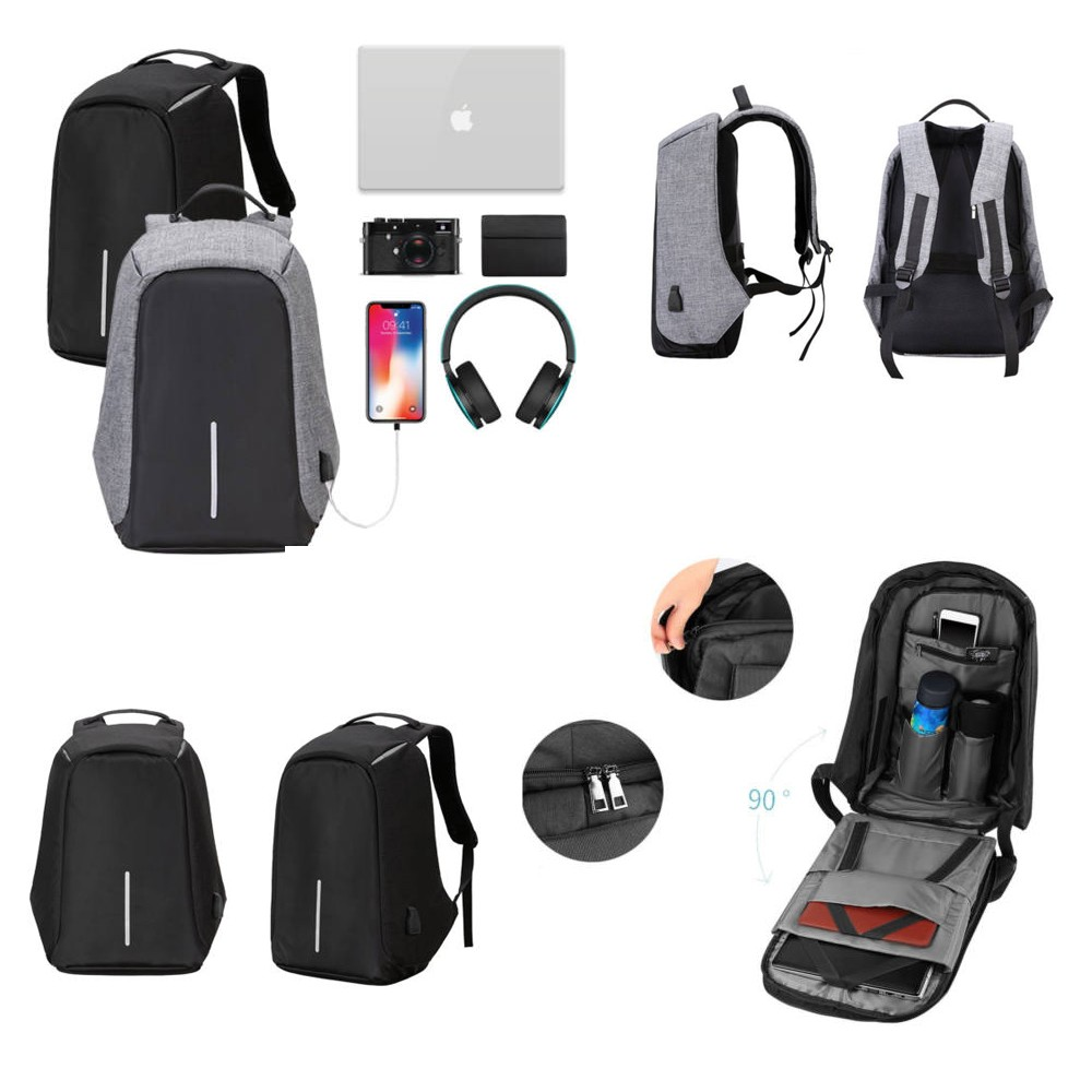 Lopásbiztos hátizsák (szürke) - Bonus Shop a0905f629f