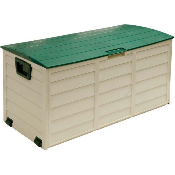 Műanyag, gurulós kerti tárolódoboz - zöld