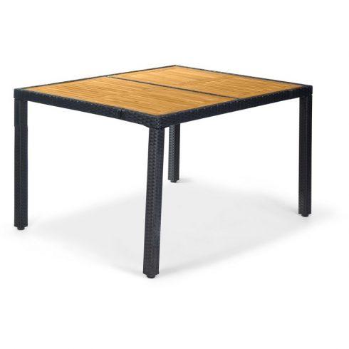 Rattan kerti asztal, fa betétekkel