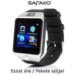 Safako SmartWatch 008 okosóra magyar menüvel (Ezüst óra - fekete szíj)