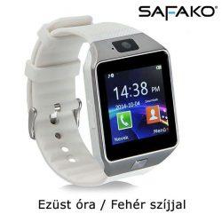 Safako SmartWatch 008 okosóra magyar menüvel (Ezüst óra - fehér szíj)