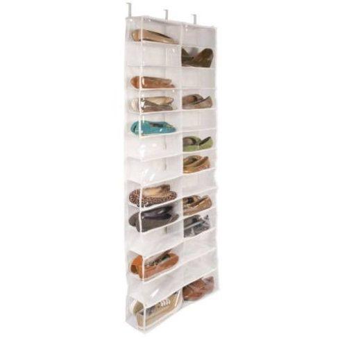 Ajtóra szerelhető cipőtároló, 160x55x16 cm, fehér