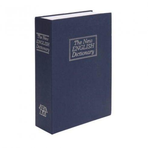 Könyv alakú biztonsági doboz, 23 x 16 x 6 cm,  kék, nagy méret