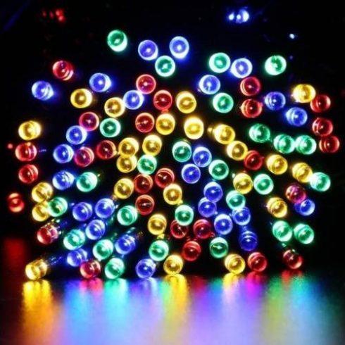100 LED-es napelemes kerti fényfüzér, színes, 10 m
