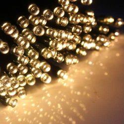 100 LED-es napelemes kerti fényfüzér, meleg fehér, 20 m