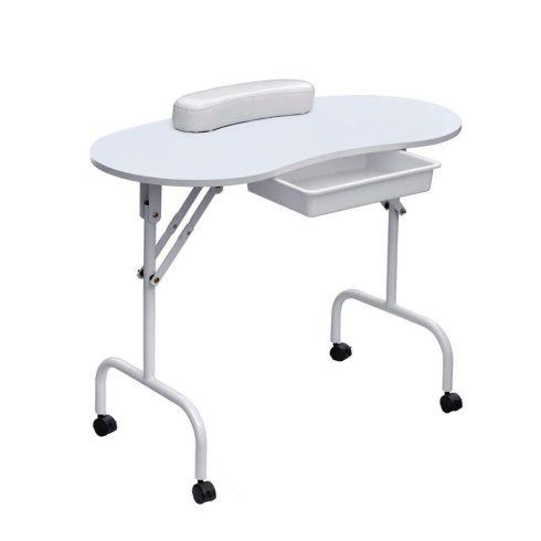 Manikűr asztal, mobil, hordtáskával, fehér