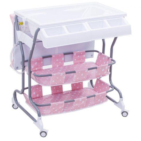 Többfunkciós pelenkázó és fürdető ágy, rózsaszín