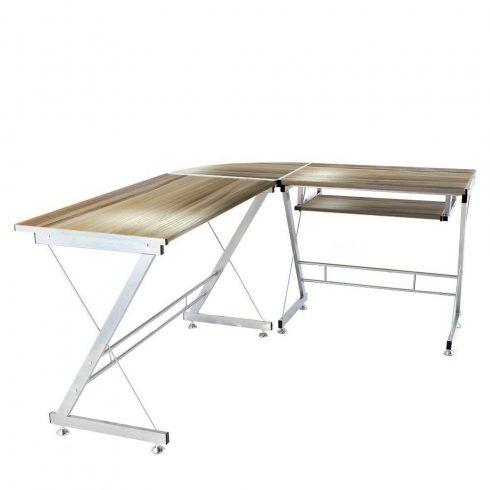 L alakú irodai asztal (barna színben)