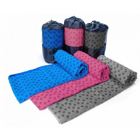 Csúszásgátlós jógatörölköző, ajándék táskával, kék