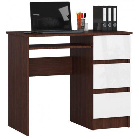 Negola A-6 íróasztal, wenge, fehér színben, jobb oldali fiókokkal