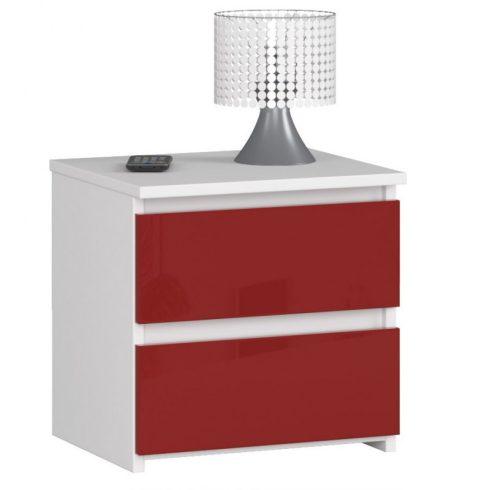 Laoya CL2 2SZ éjjeliszekrény, fehér, fényes vörös színben