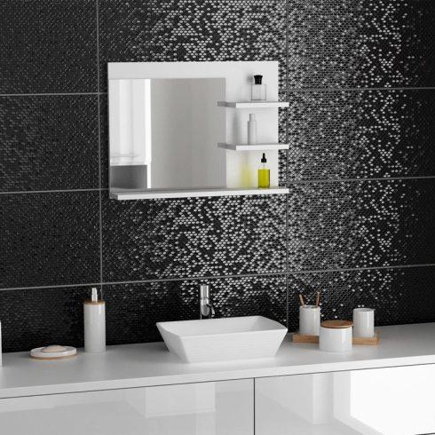 Drohmo L3 polcos fürdőszoba tükör, matt fehér