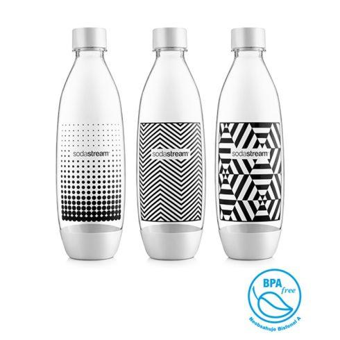 Sodastream Bottle Fuse 9 dl-es 3 darab nyomásálló műanyag palack - fekete-fehér