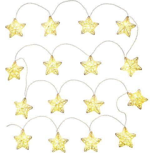 Retlux RXL 249 karácsonyi dekoráció, rattan csillagok, 16 LED, meleg fehér