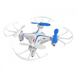 Quadcopter, drón, 10 cm, haladók részére, 50 m hatótáv, fehér-kék