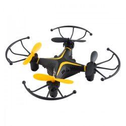 Quadcopter, drón, 10 cm, haladók részére, 50 m hatótáv, fekete-sárga