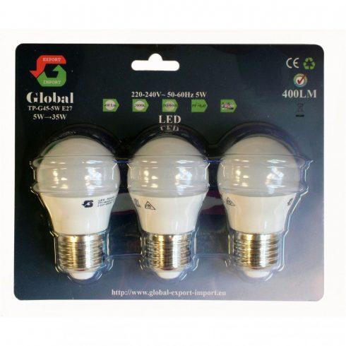 3 x G45 5W E27 LED izzó