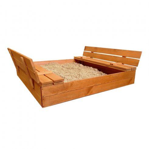 Fa homokozó PRO, paddá alakítható tetővel, 120x124x21