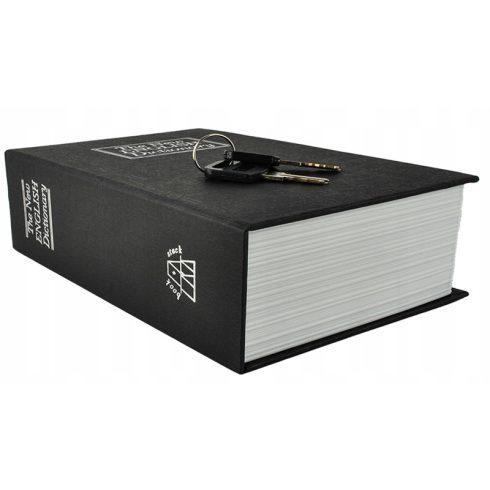 Könyv alakú biztonsági doboz, 18 x 11,5 x 5,6 cm, fekete