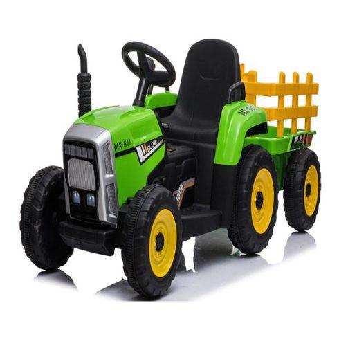 Elektromos ráülős traktor gyerekeknek, utánfutóval, zöld
