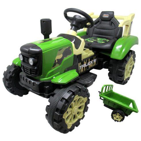 Elektromos ráülős traktor gyerekeknek, világítással, utánfutóval, zöld